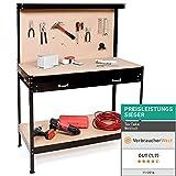 TecTake Werkbank | Werkzeugbank mit Schublade | Lochwand...